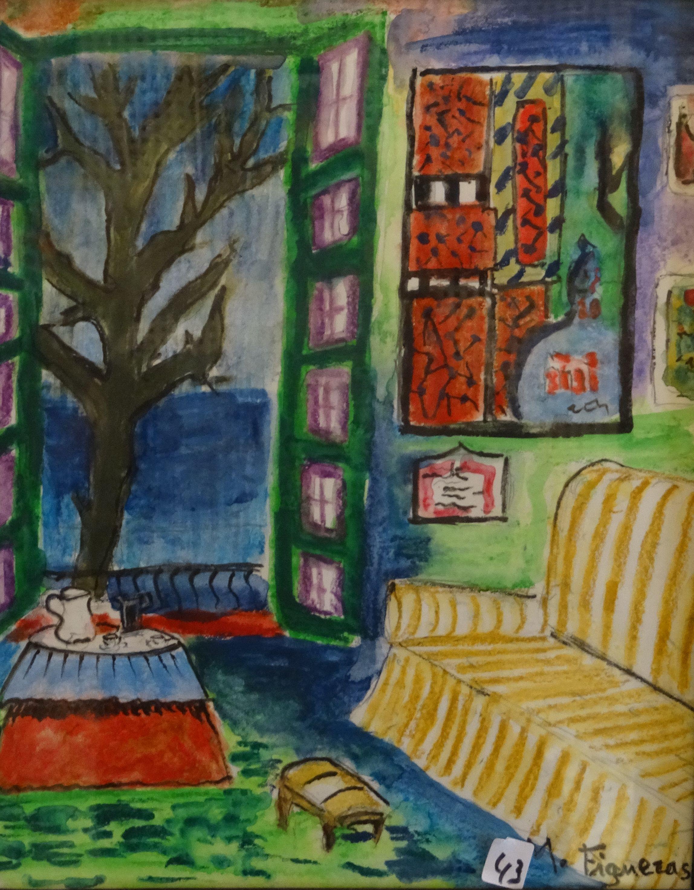 Interior con arbol 35x25 montserrat figueras for Arbol interior